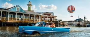 Guests go for a ride inÊa Captain-guided tour aboard anÊamphibious auto, known as anÊAmphicar,Êon Lake Buena Vista at Downtown Disney, as part of the waterfront adventures offered at The BOATHOUSE restaurant.ÊThe BOATHOUSE: Great Food, Waterfront Dining, Dream Boats, isÊa new upscale, waterfront dining experience in the heart ofÊDowntown Disney with a gourmet menu featuring steaks, chops, fresh seafood and a raw bar.ÊThe BOATHOUSEÊfrom Schussler CreativeÊis one of the new venues in The Landing, the first of four planned neighborhoods asÊDowntown Disney transitions to Disney Springs. Completion of Disney Springs is set for 2016. Downtown DisneyÊis located at Walt Disney World Resort in Lake Buena Vista, Fla.Ê(Matt Stroshane)