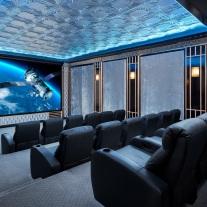 This home theater is perfect for presentations during the day and showing movies during leisure time.