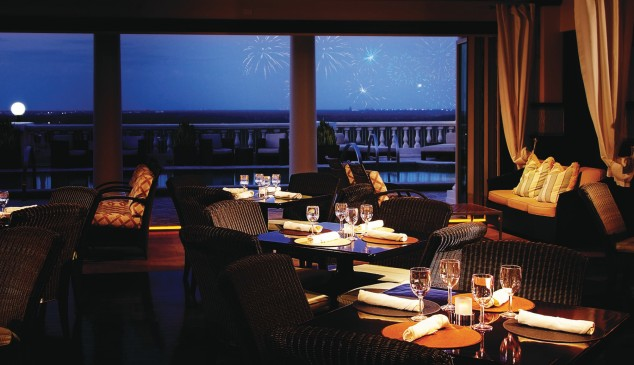 Interior of Eleven at Reunion Resort with view of the evening fireworks